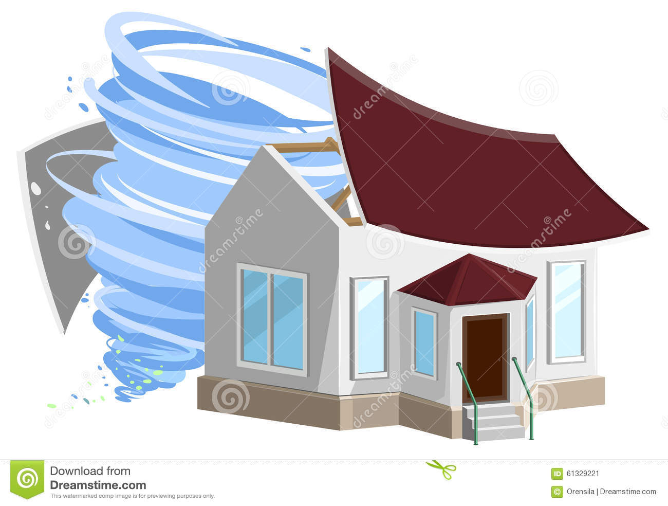 Hurricane destroyed roof of house vector illustration for House under construction insurance