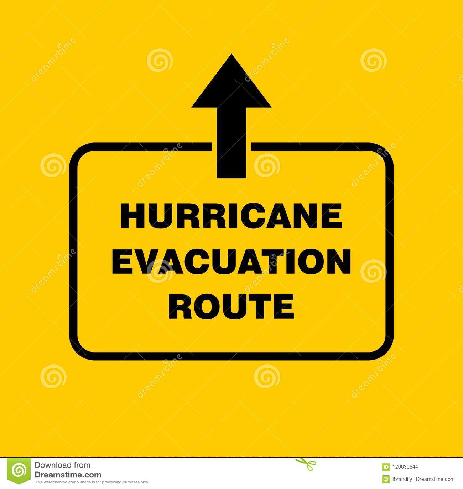 Hurricane Evacuation Route Sign Board Hurricane Indication Gra