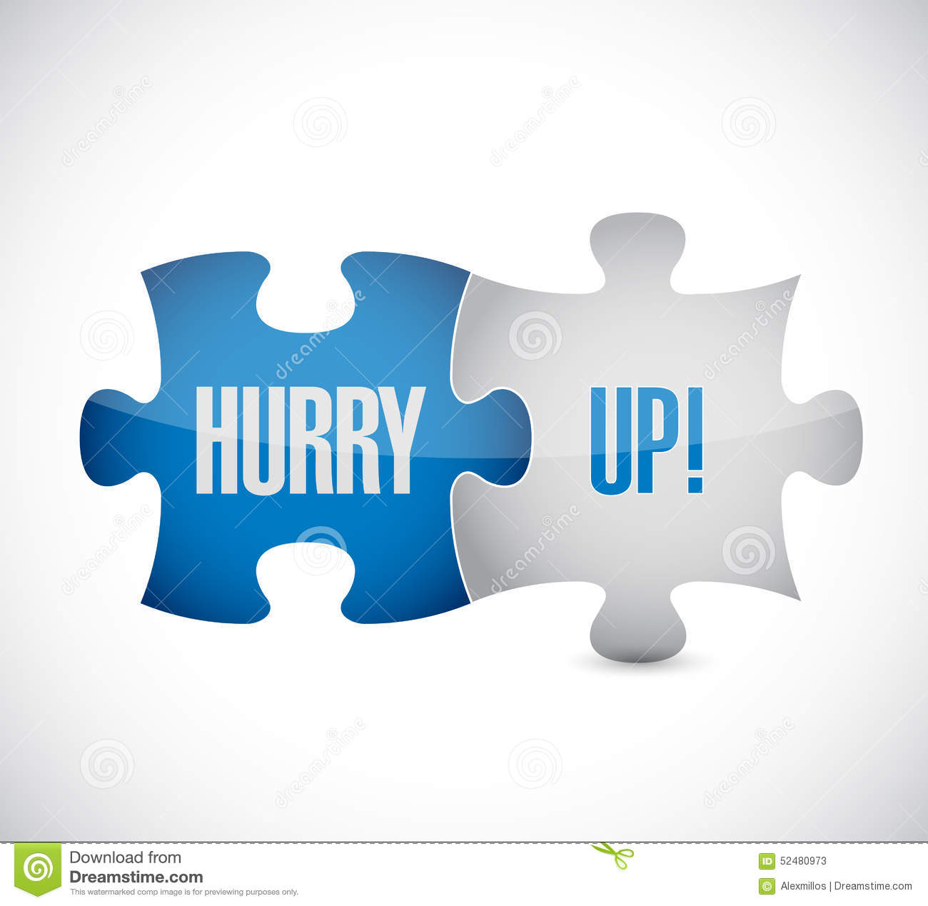 Hurry Up Puzzle Piece Sign Illustration Stock Illustration ...