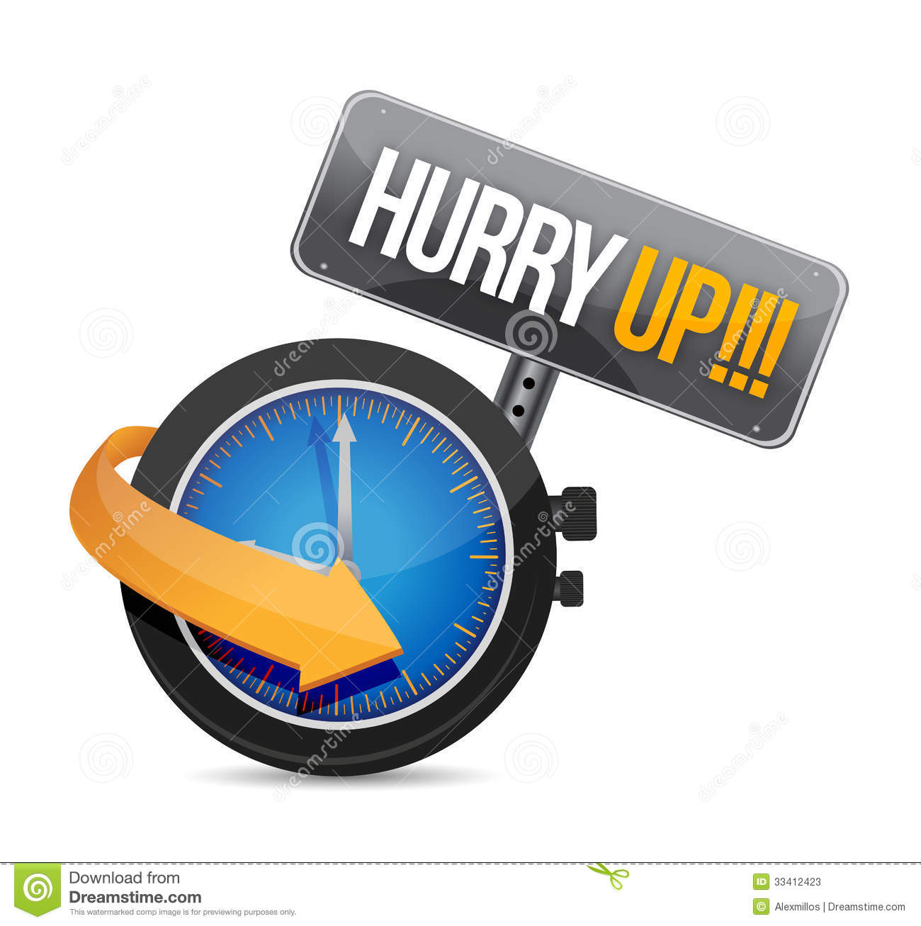 Hurry up watch message illustration design over a white background.