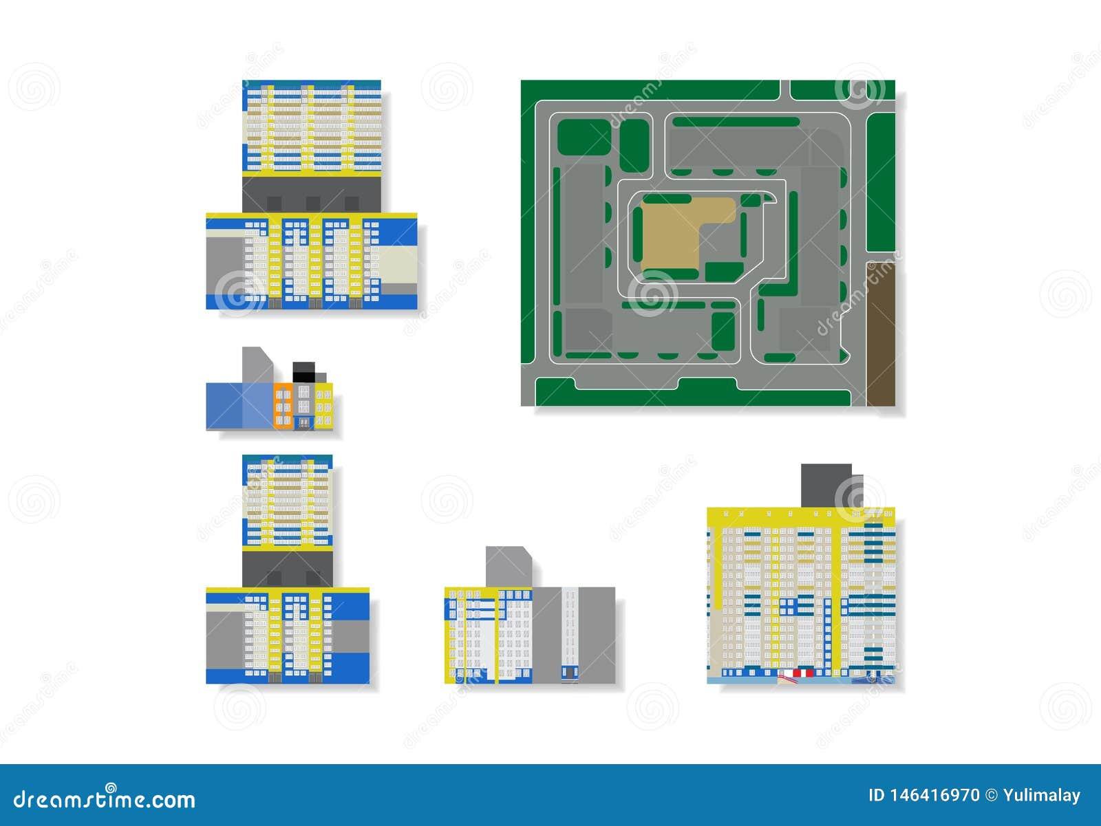 Hus för löneförhöjning för vektorillustration höga för modellen 3d