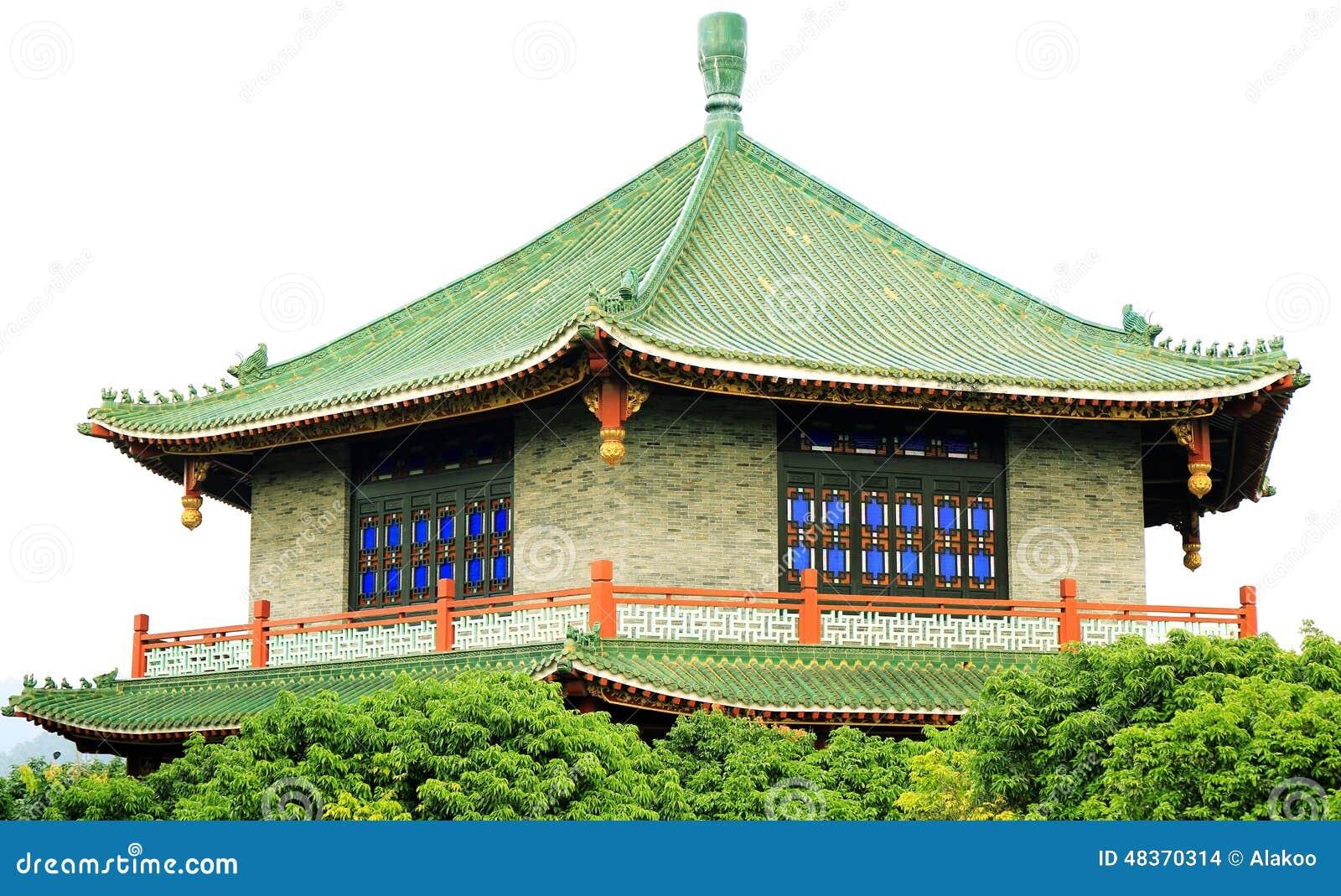Hus för traditionell kines i den forntida kinesträdgården, östlig asiatisk klassisk byggnad i Kina