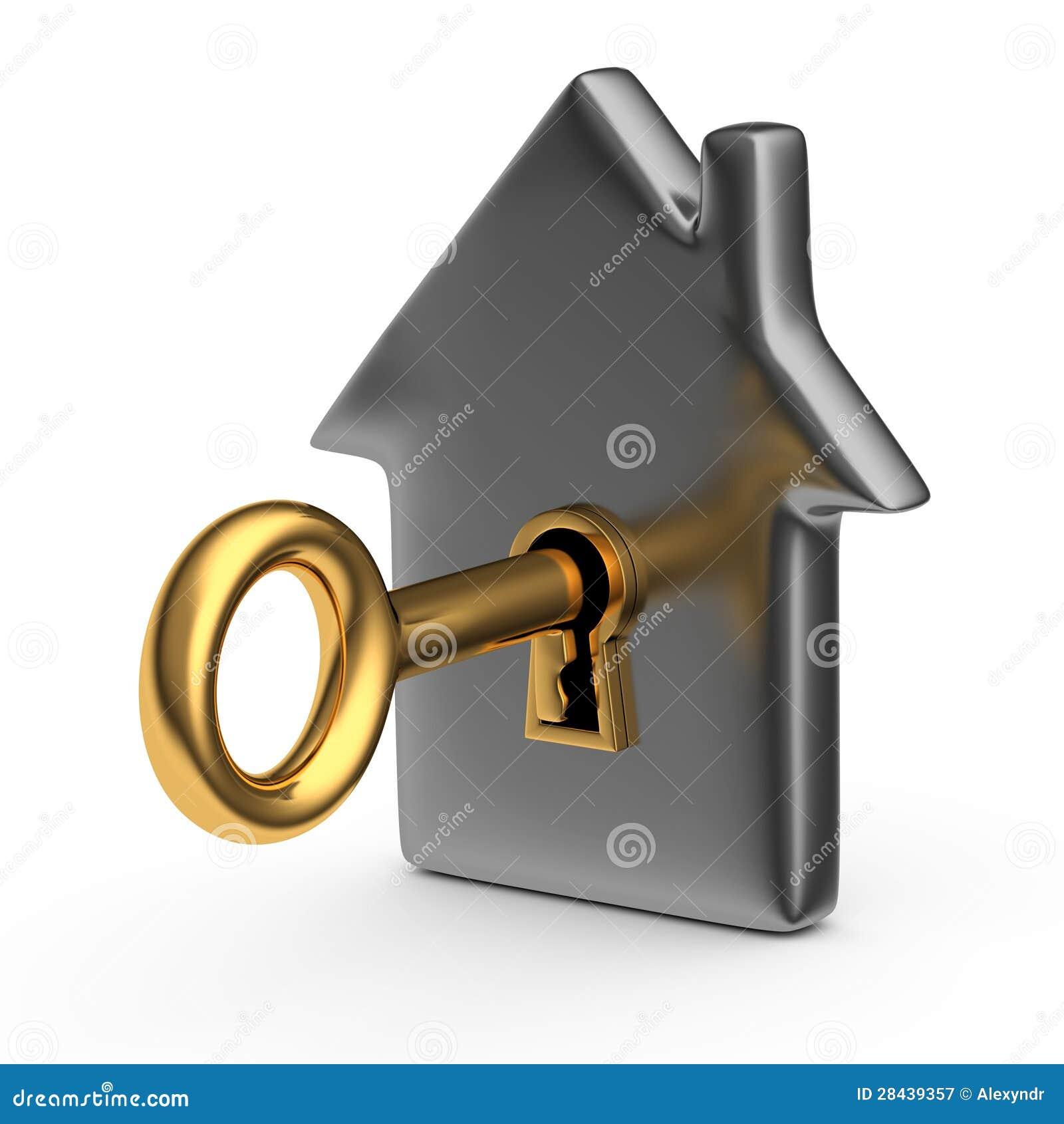 Hus med ett nyckel-