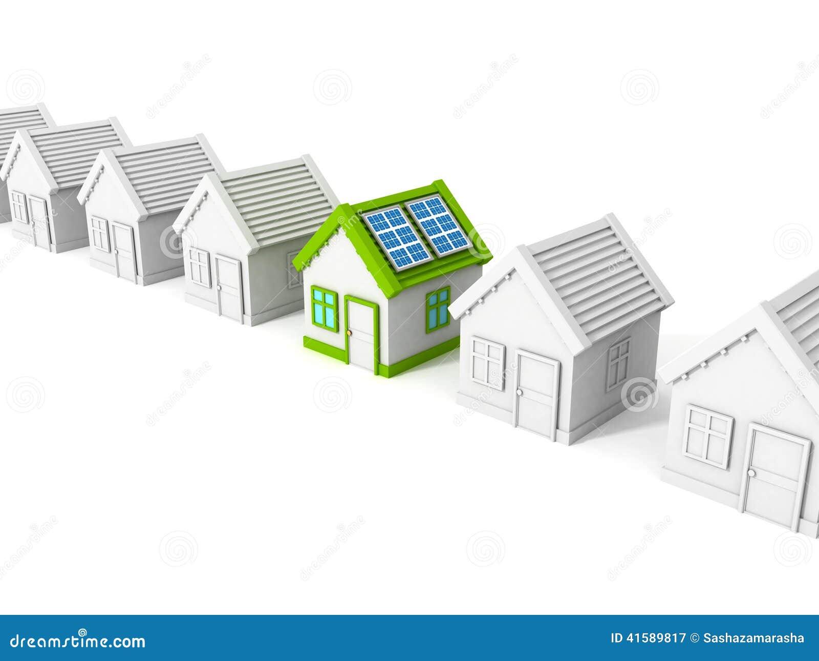 F R P Panel ~ Hus med paneler för sol batteri på taket stock