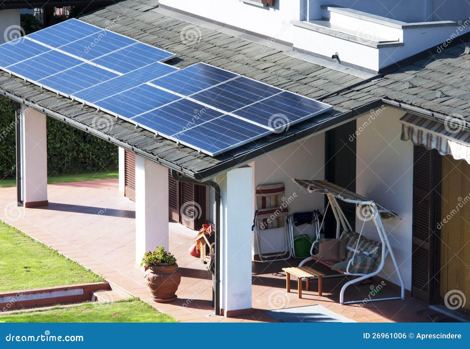 Hus med sol- paneler