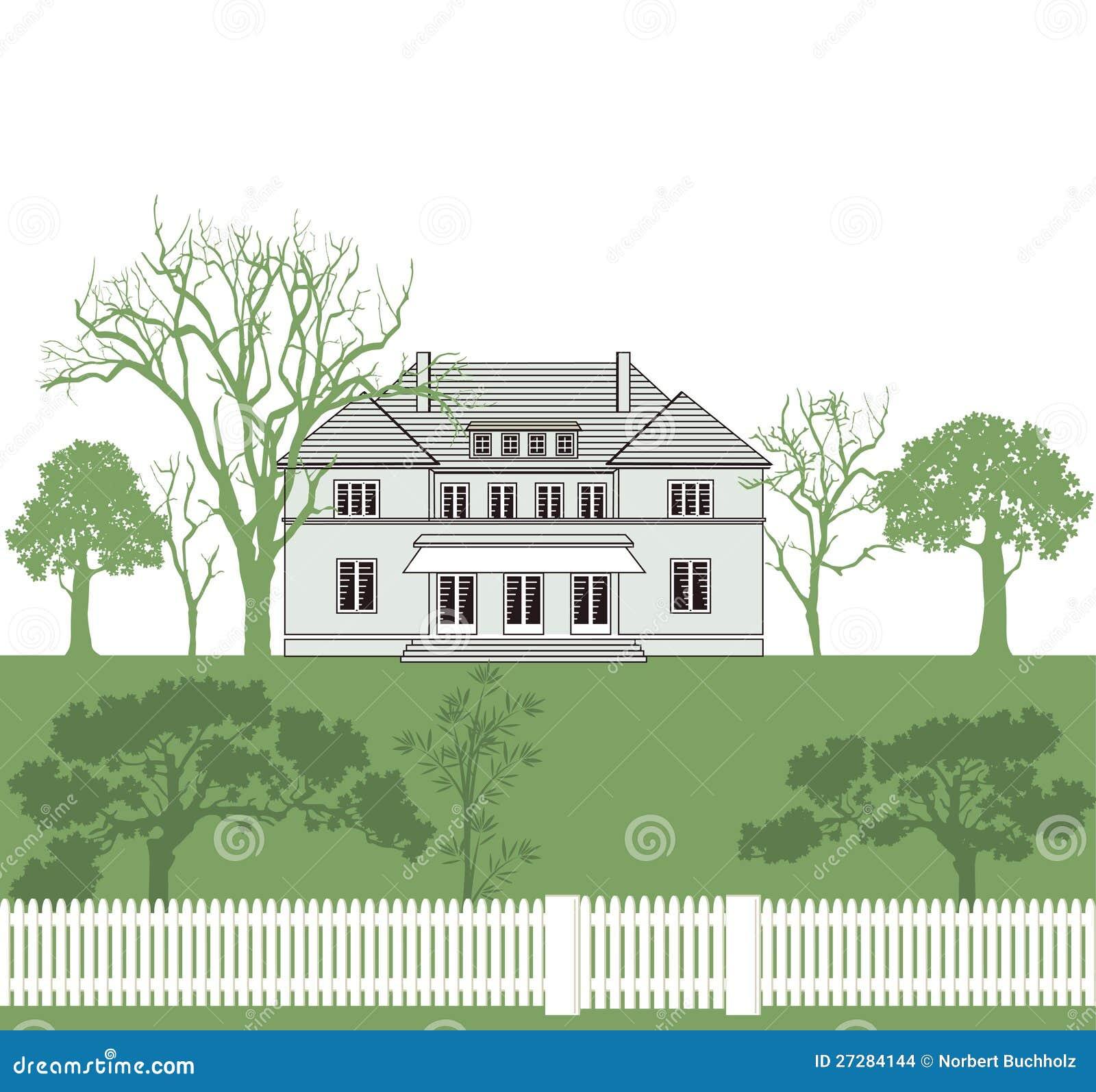 Hus och trädgård