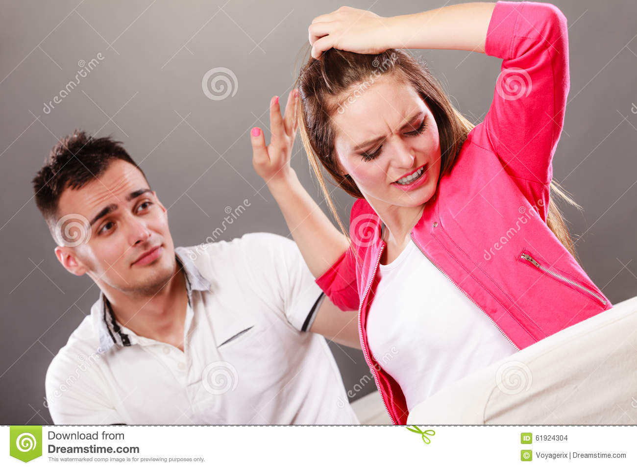 Husband Apologizing Wife. Heartbroken Woman. Stock Photo ...