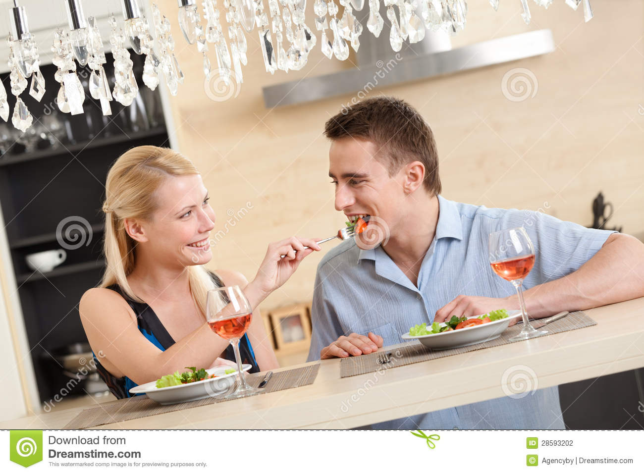 Husband And Wife Have Romantic Dinner Stock Photo Image Of