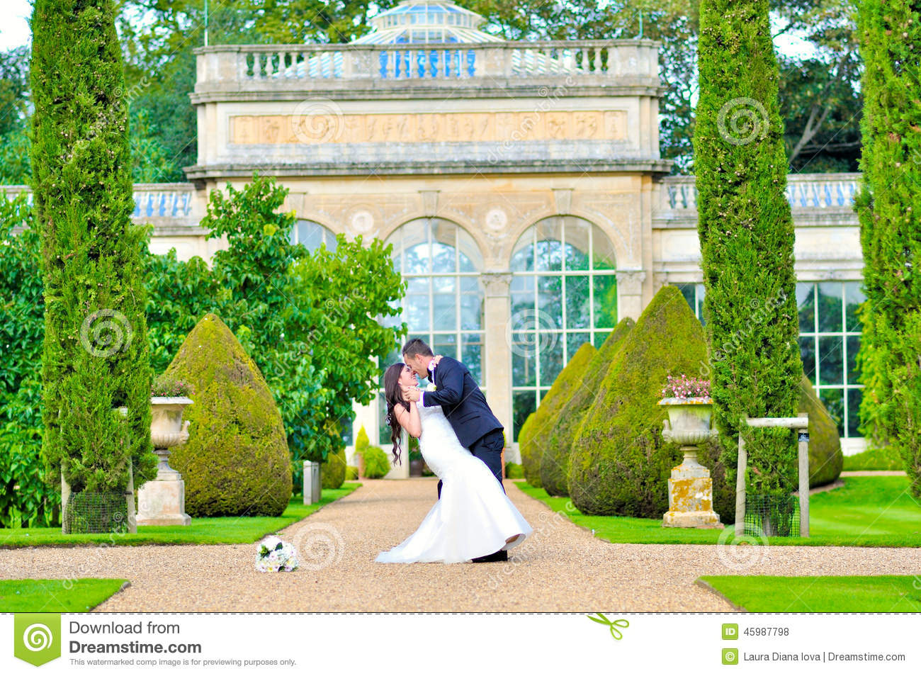 Husband and wife at the palace stock photo image 45987798 for Beautiful gardens to get married in