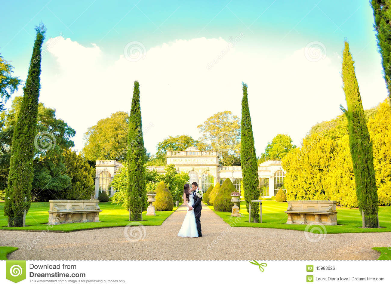 Husband and wife at the palace stock photo image 45988026 for Beautiful gardens to get married in