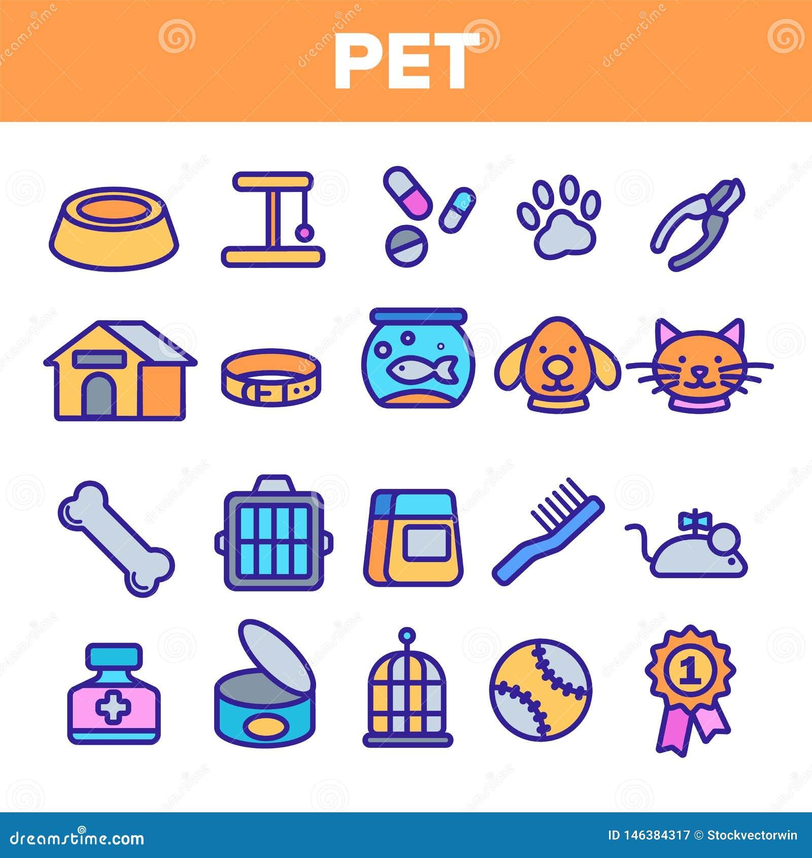 Husdjurlinje fastst?lld vektor f?r symbol Djur omsorg Ansa husdjursymbol Hund Cat Veterinar Shop Icon Tunn ?versiktsreng?ringsduk