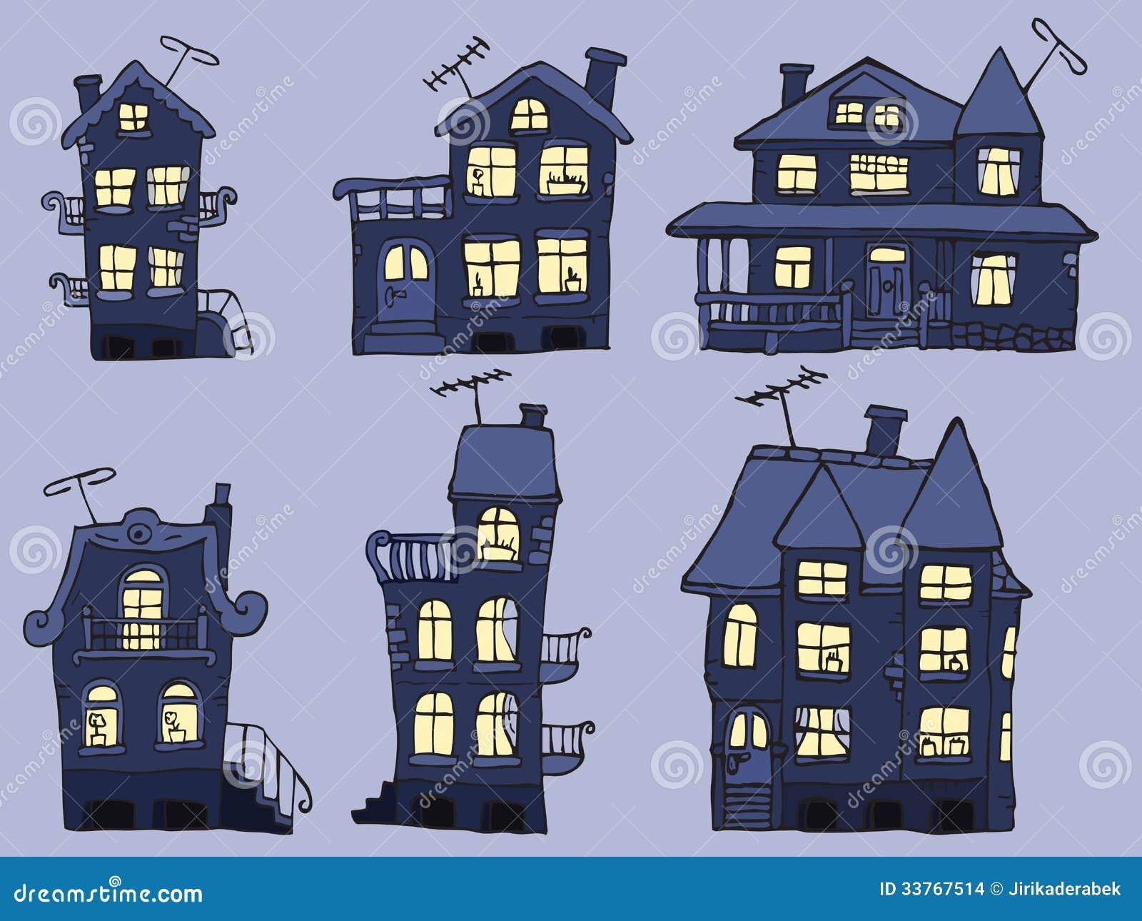 h user in der nacht blaue farben stockbilder bild. Black Bedroom Furniture Sets. Home Design Ideas