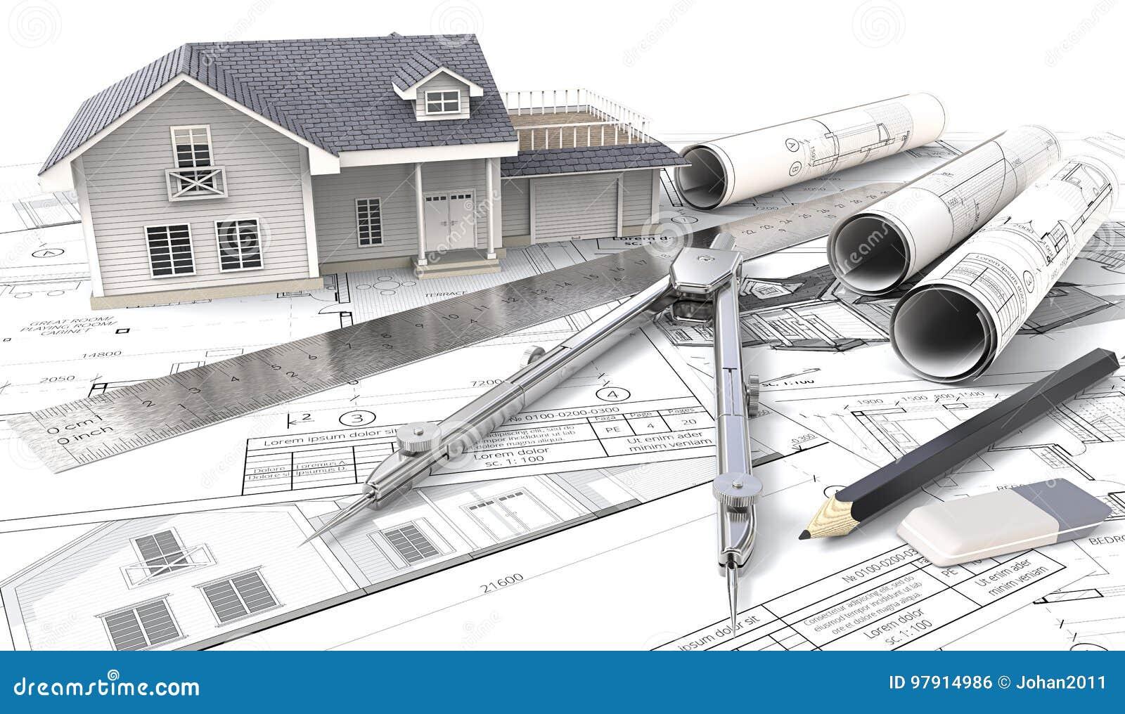 Huset 3d på design skissar och gör en skiss av