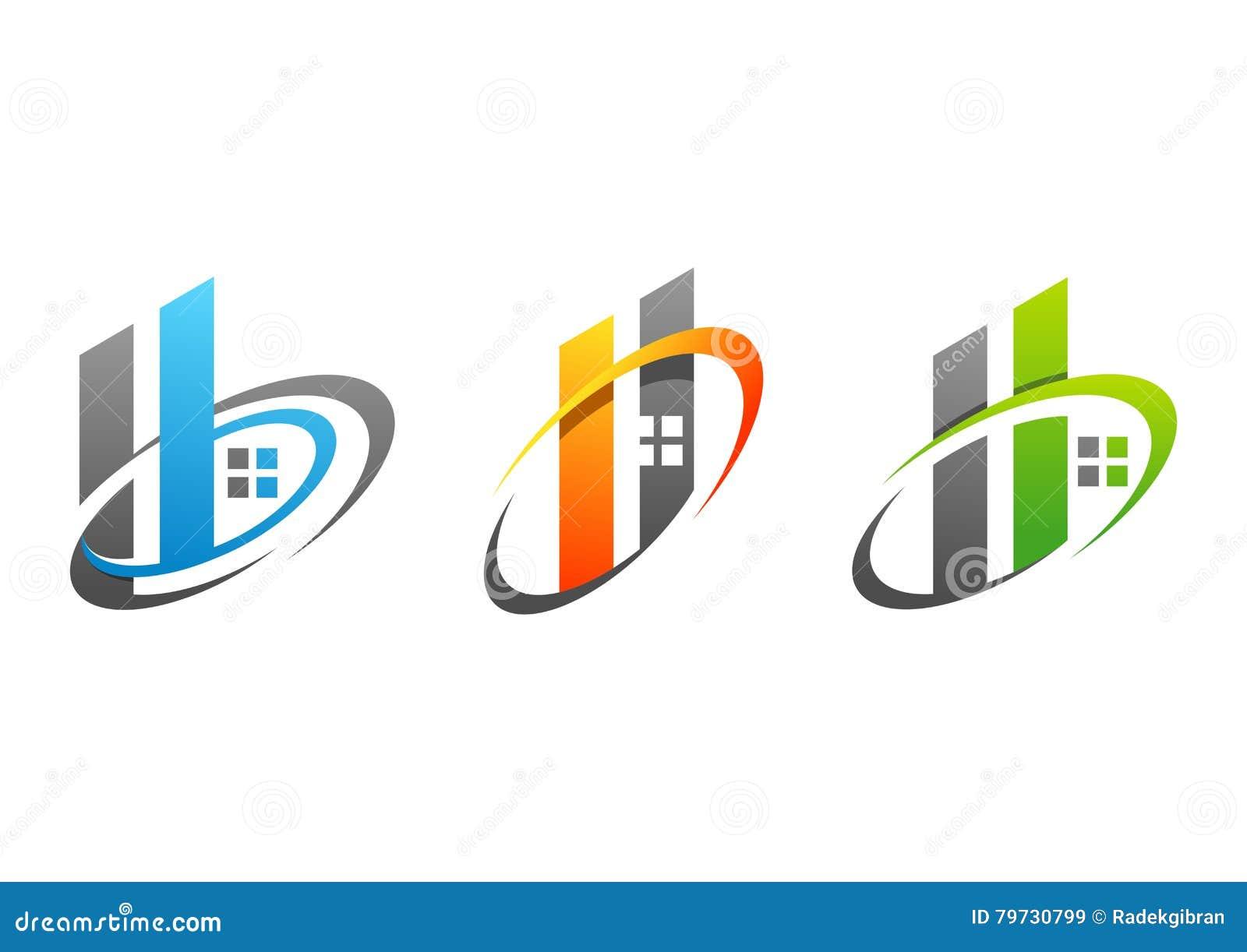Huset, fastigheten, byggnad, hemmet, logoen, symbolet, uppsättningen av H för cirkelbeståndsdelbokstäver och b-symbolsvektorn pla