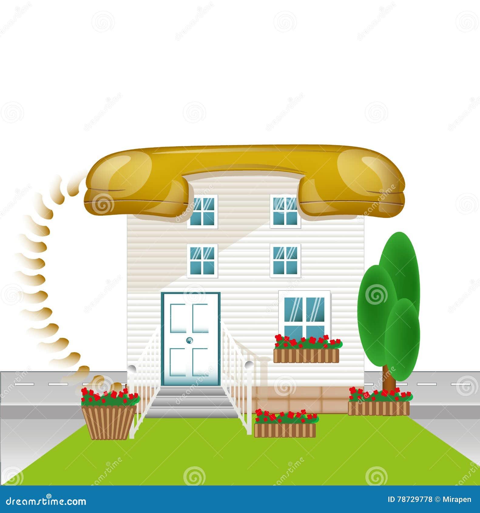 Huset med taktelephon, förbinder befruktningen, förbinda-hus symbol