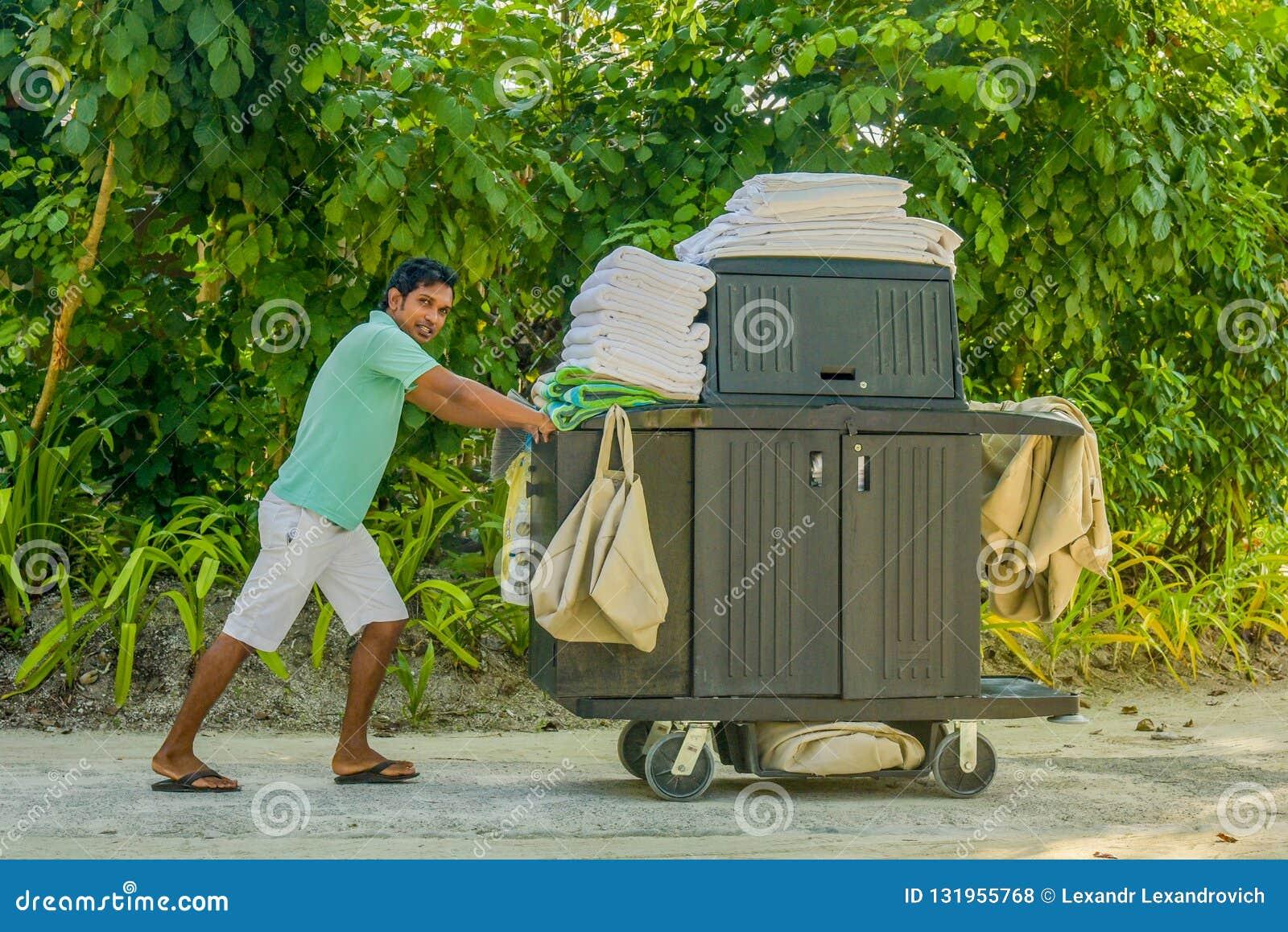 Hushållningarbetare som skjuter vagnen med rengörande hjälpmedel