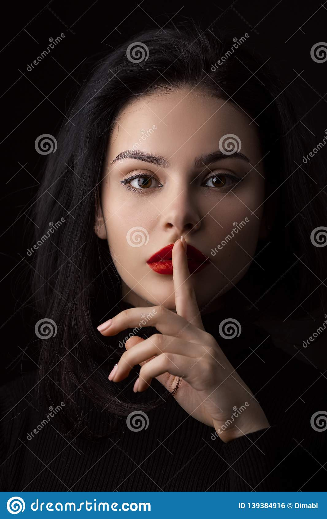 Hush Be Quiet Woman Isolated On Black  Beautiful Girl With