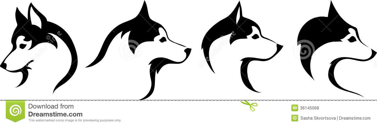 huskies head stock vector image of black  side  stylized dog sled clip art free dog pulling sled clipart