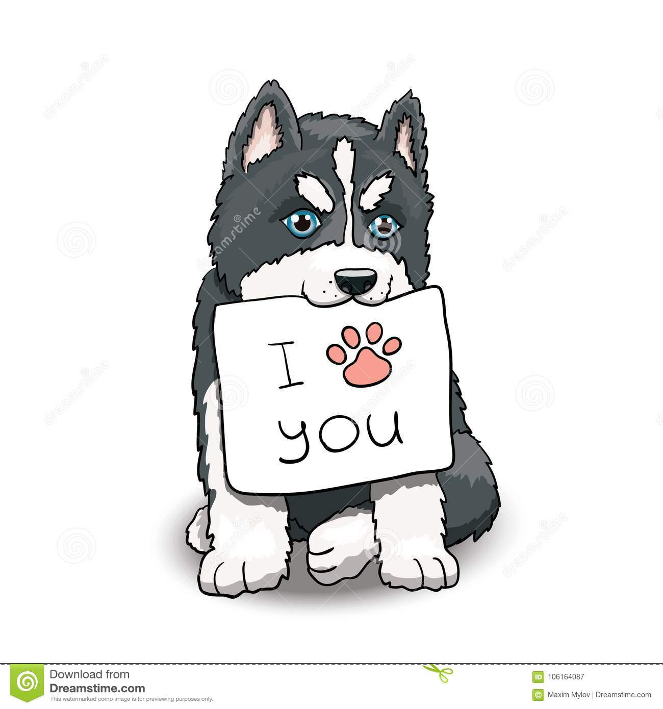 I Love You Husky Puppy Husky Puppy With I Lov...