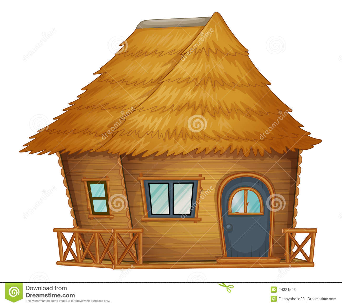 Hut or cabin on a white background.