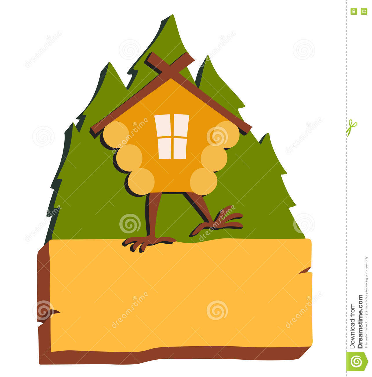 Hut House Logo: Hut In Forest Vector Logo. Cartoon Old House On Chicken
