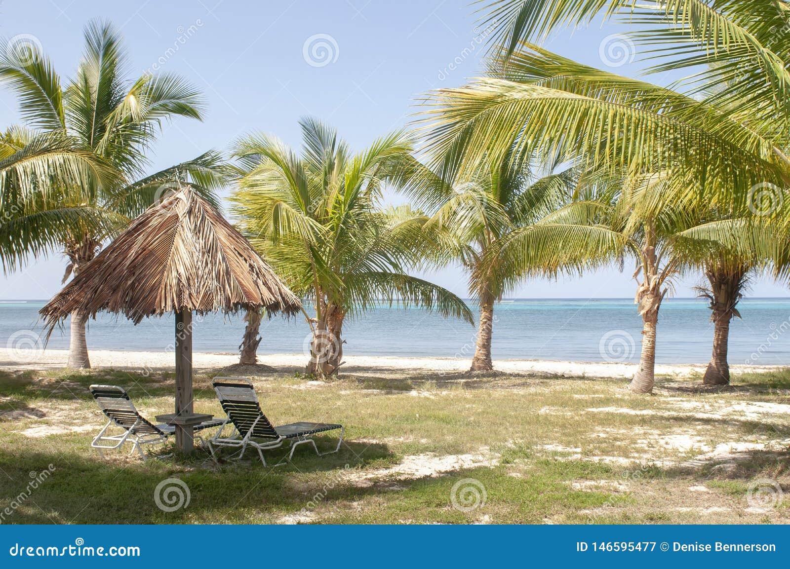 Hut met Stoelen en Palmen op Strandlandschap met Mooie Blauwe Wateren op Eiland
