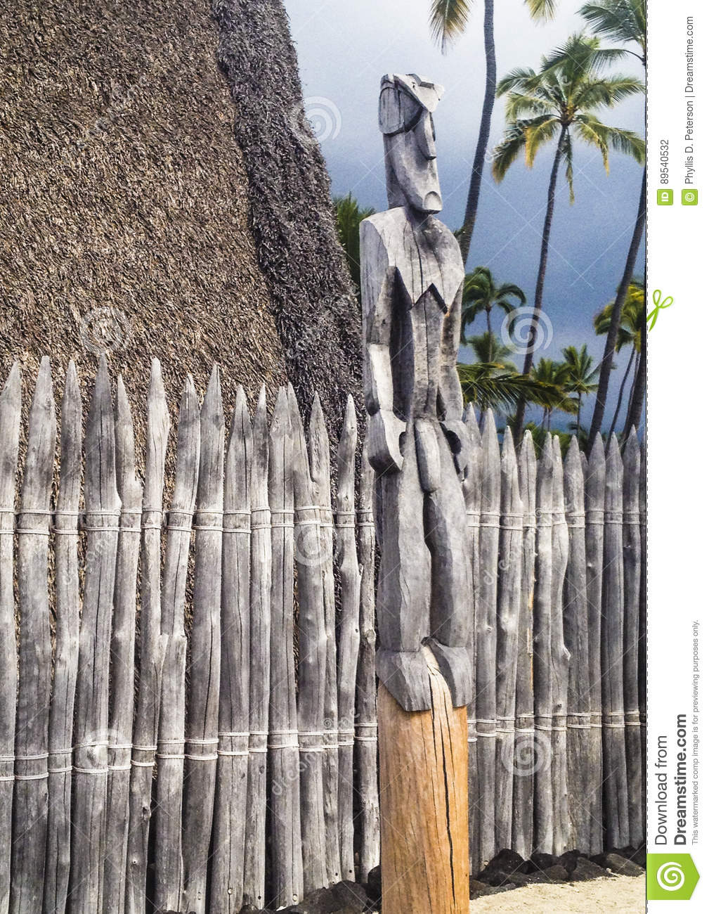 Hut Statue And Fence Located Within The Royal Grounds Or Haonaunau