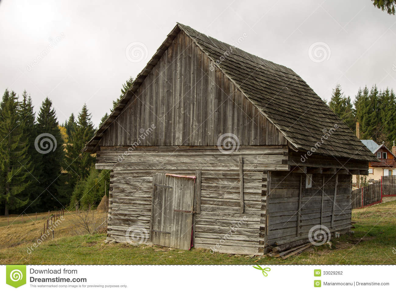 wooden hut near mountain - photo #23