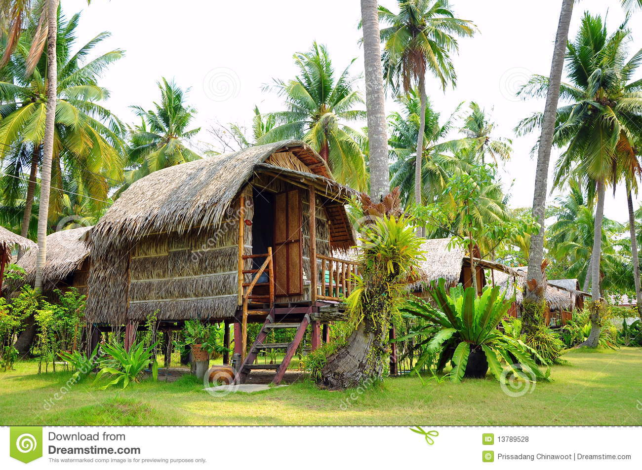 Huts In Garden Koh Chang Thailand Stock Photo - Image of plant ...