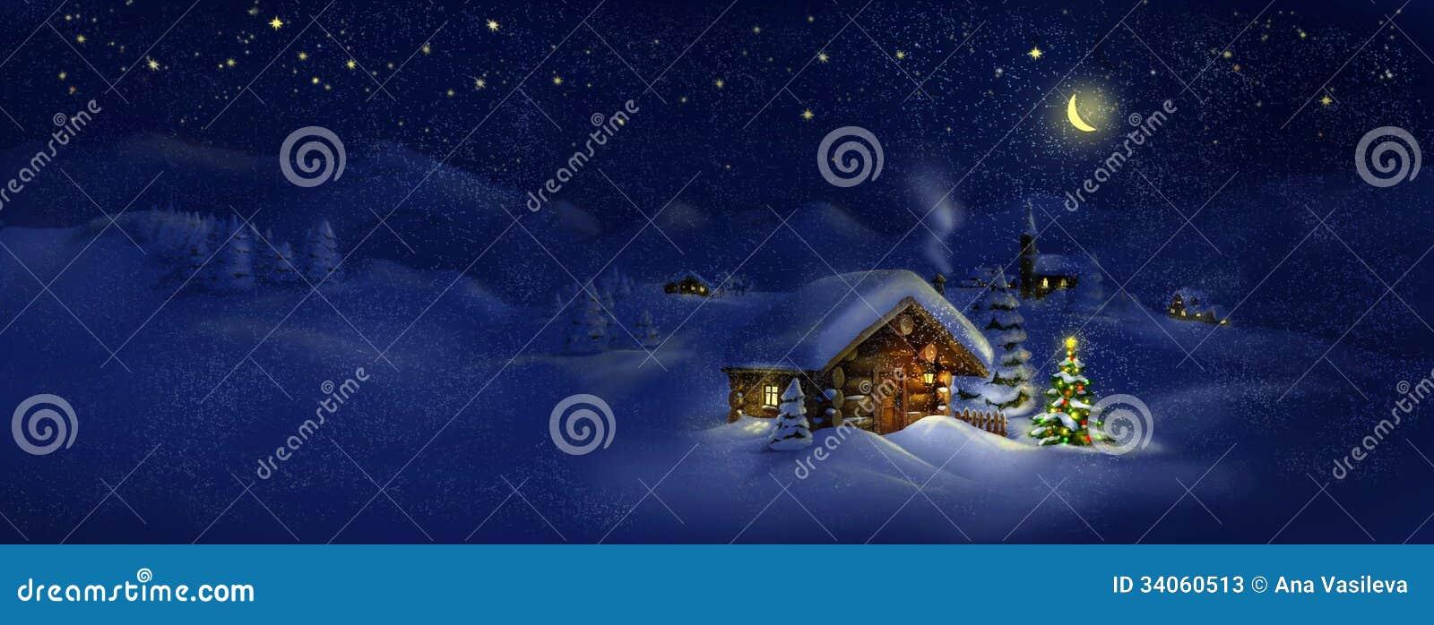Hutte, arbre de Noël avec des lumières, paysage de panorama