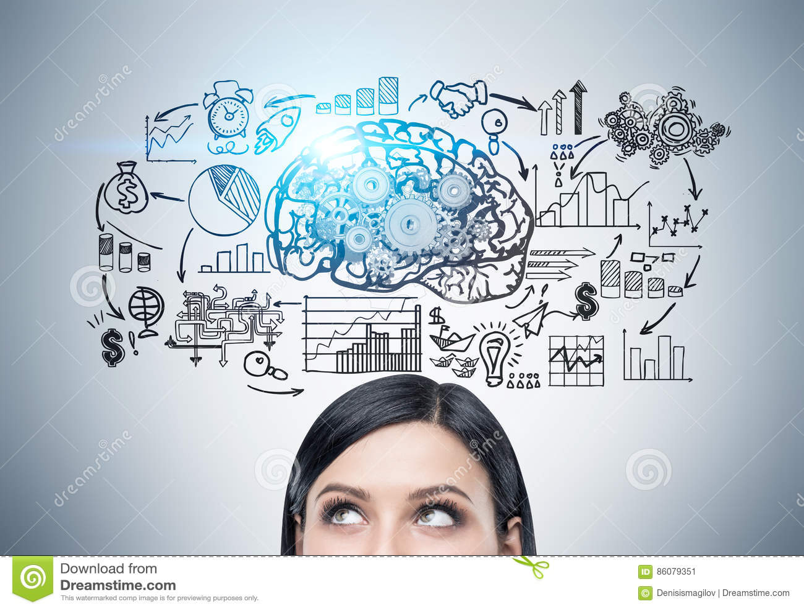 Huvud av kvinnan, hjärna med kugghjul