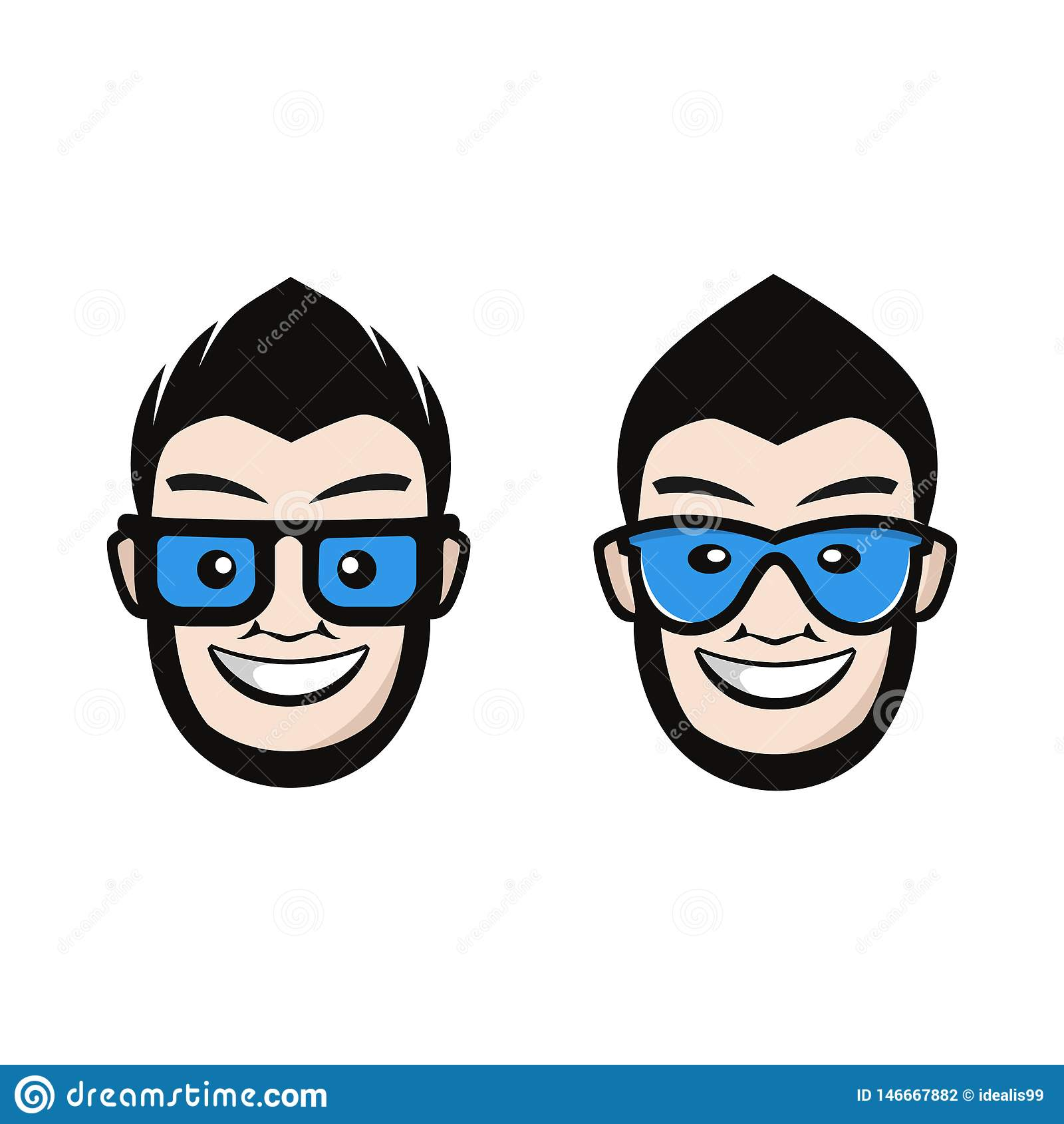 Huvud med blåa exponeringsglas