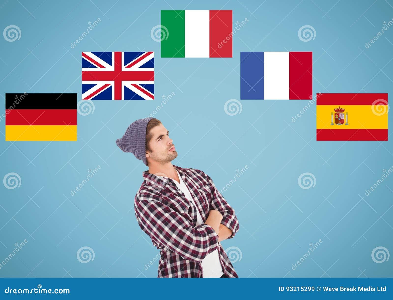 Huvudsakliga språkflaggor runt om att tänka för ung man background card congratulation invitation