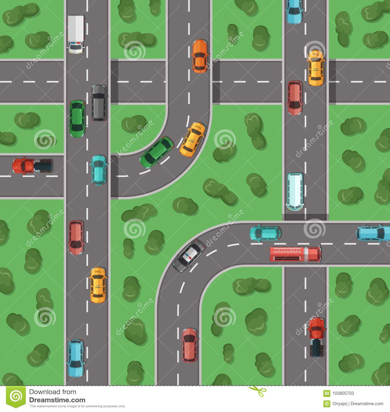 Huvudvägar för bästa sikt för vektor med bilar och med träd in - mellan illustrationen för bästa sikt