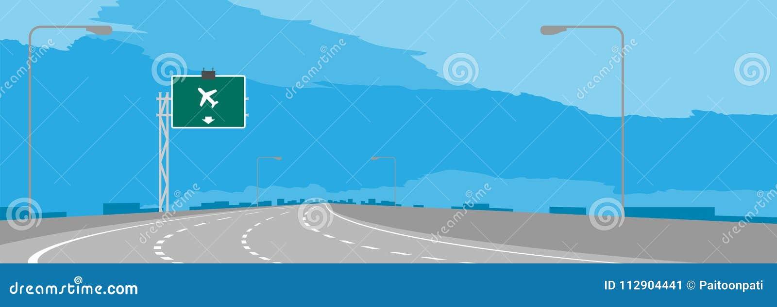 Huvudvägen eller motorwaykrökning- och gräsplansignagen med flygplatsen undertecknar in dagillustrationen