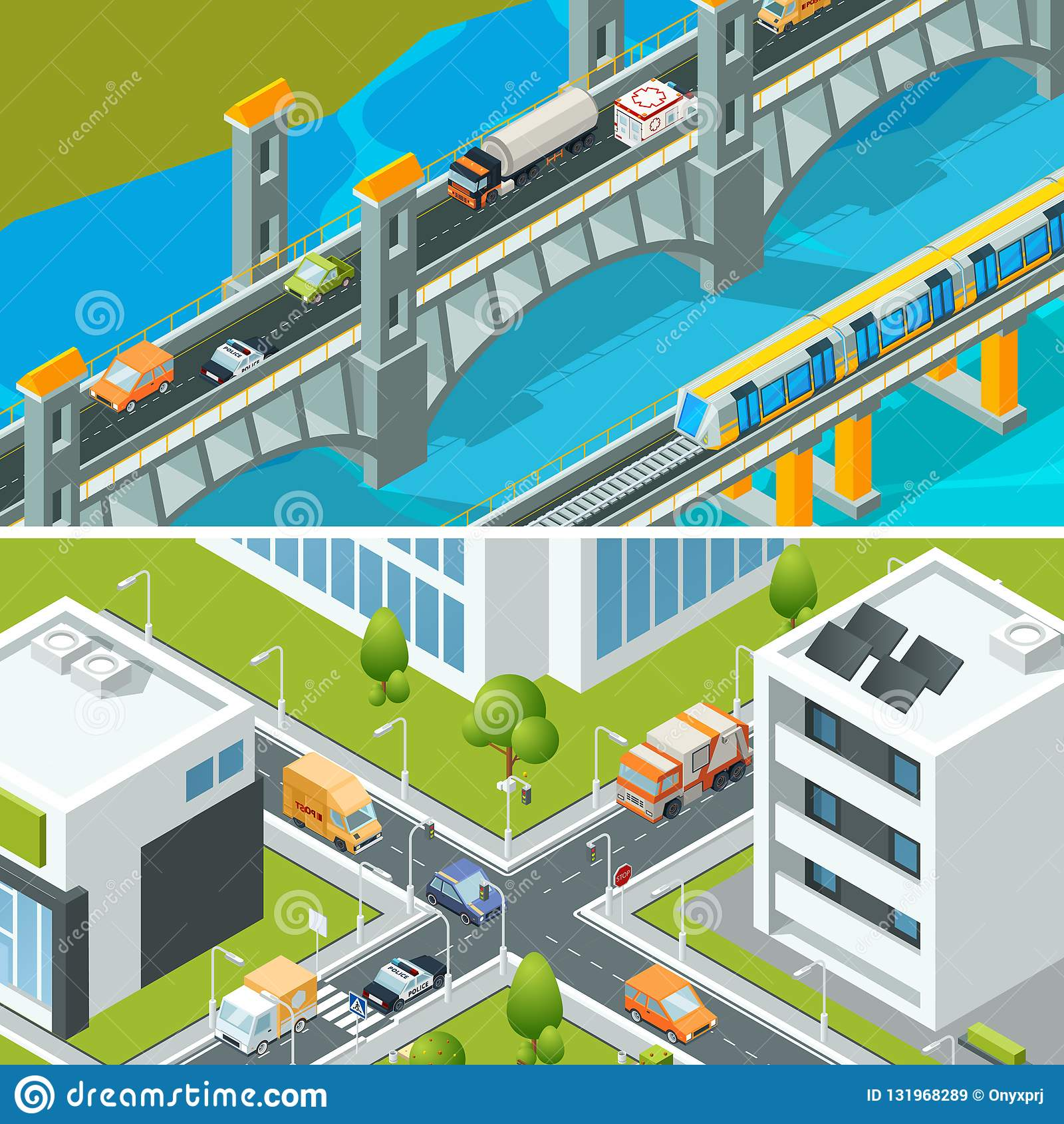 Huvudväggenomskärningstrafik Stads- landskap som är isometriskt med illustrationen för vektor 3d för stad för olika medelbilbussa