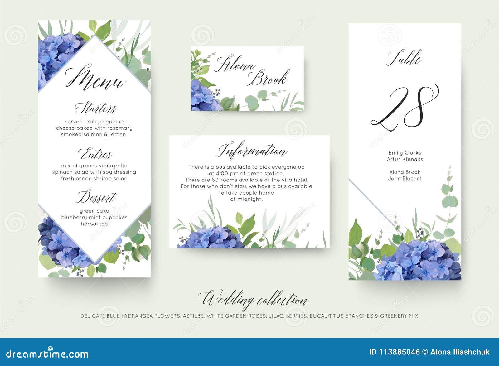 Huwelijks bloemen persoonlijk menu, plaats, informatie, lijstaantal c