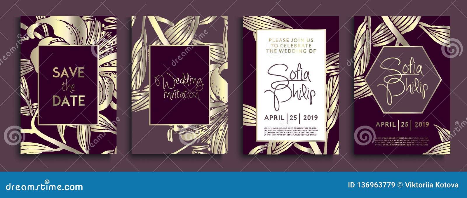 Huwelijksuitnodiging met gouden bloemen en bladeren op donkere textuur luxe gouden achtergronden, artistiek dekkingsontwerp, kleu