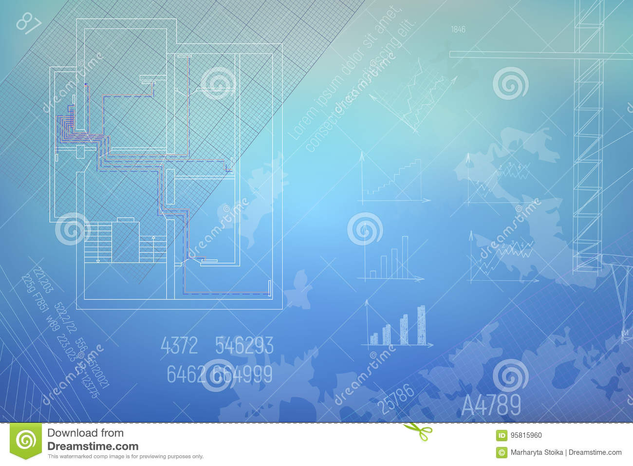 Hvac Engineering Drawing Part Of Technical Draft Vector For Download Illustration Stock