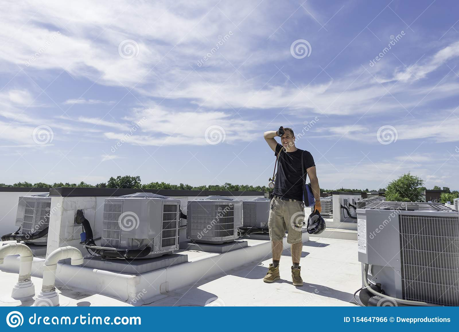 hot day around air conditioners on roof hvac dreamstime stock photo