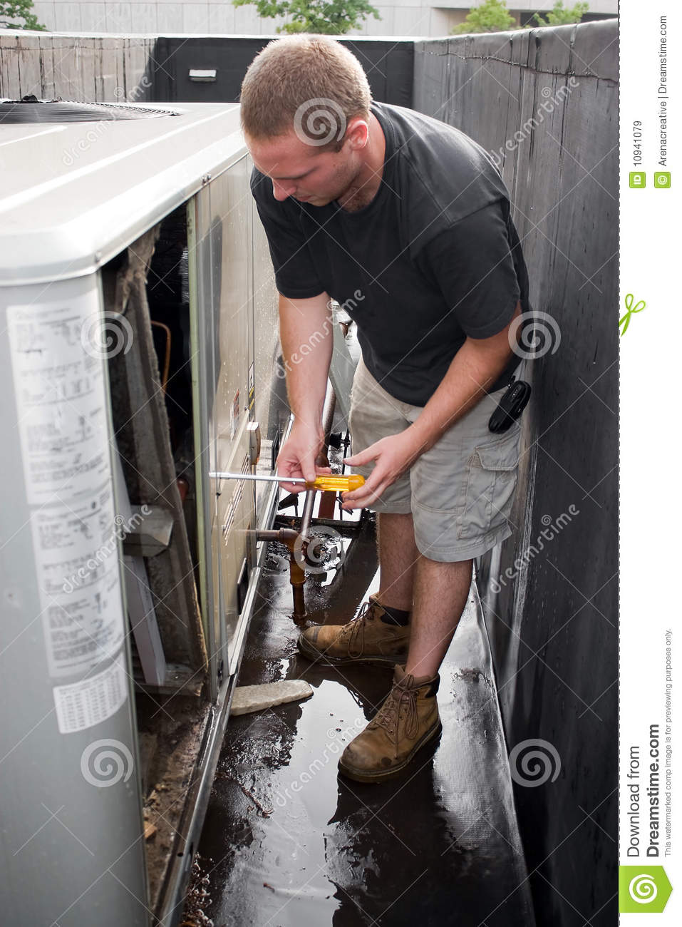 hvac technician working stock image image of electricity