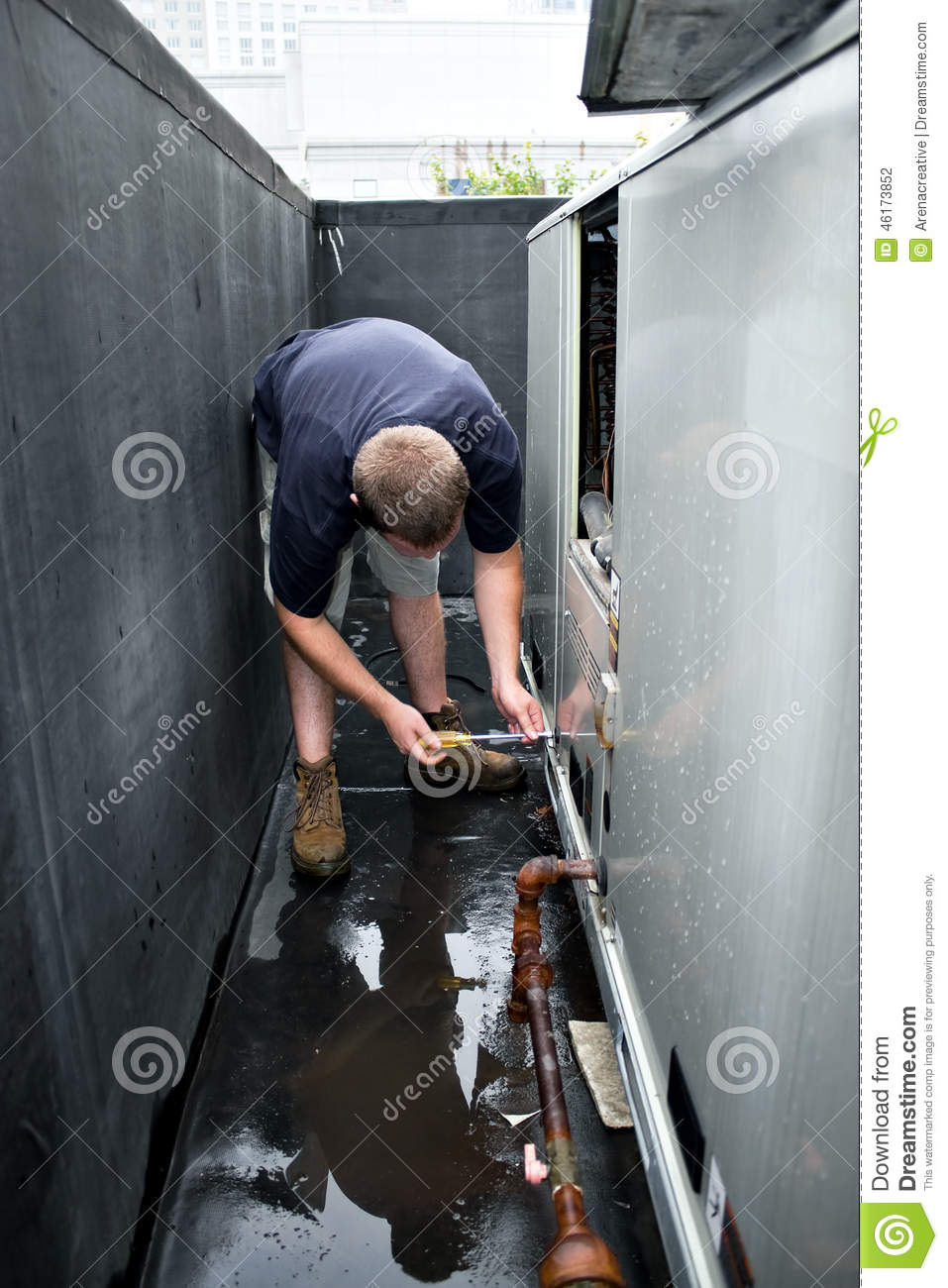 Hvac Technician Working Stock Photo Image Of Equipment