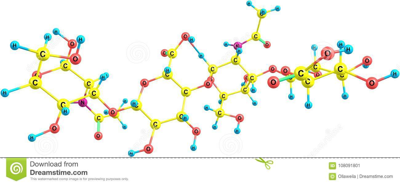 hyaluronic acid molecular structure isolated on white