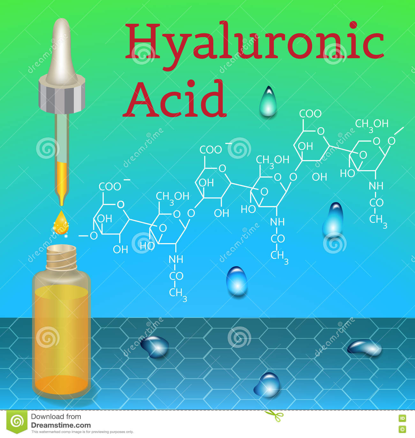Hyalurowego kwasu butelka wzór chemiczny