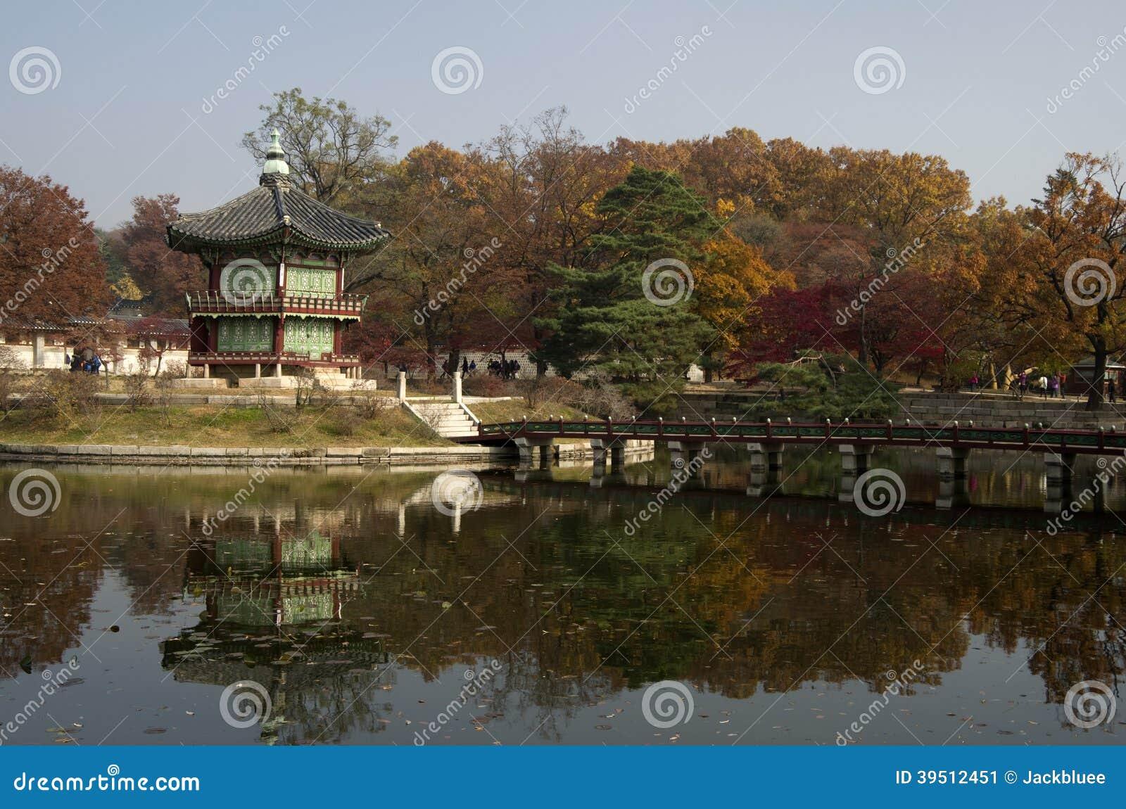 Hyangwonjeong bij Gyeongbokgung-Paleis Seoel Korea