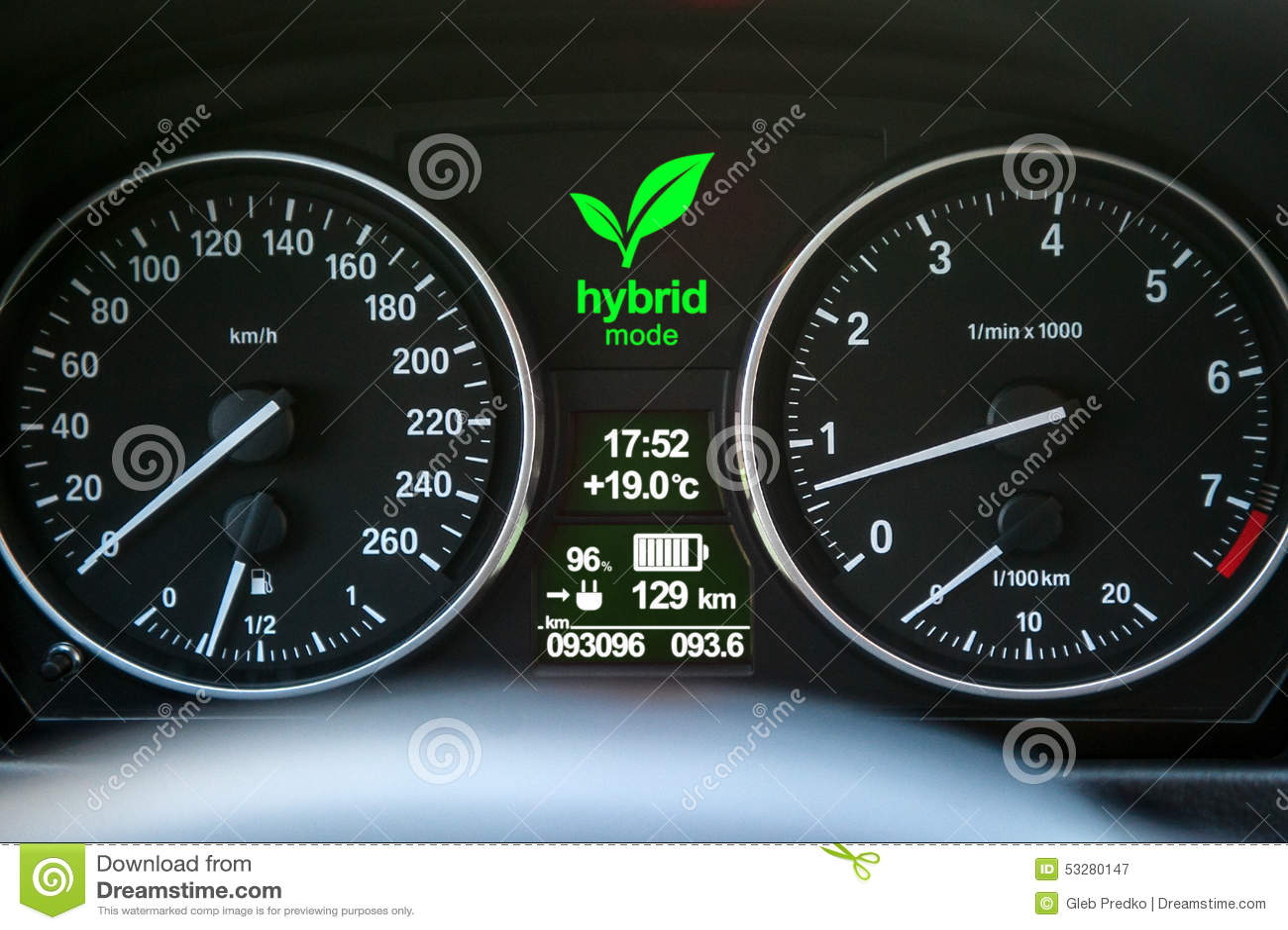 Hybrid Car Dashboard Stock Photo - Image: 53280147