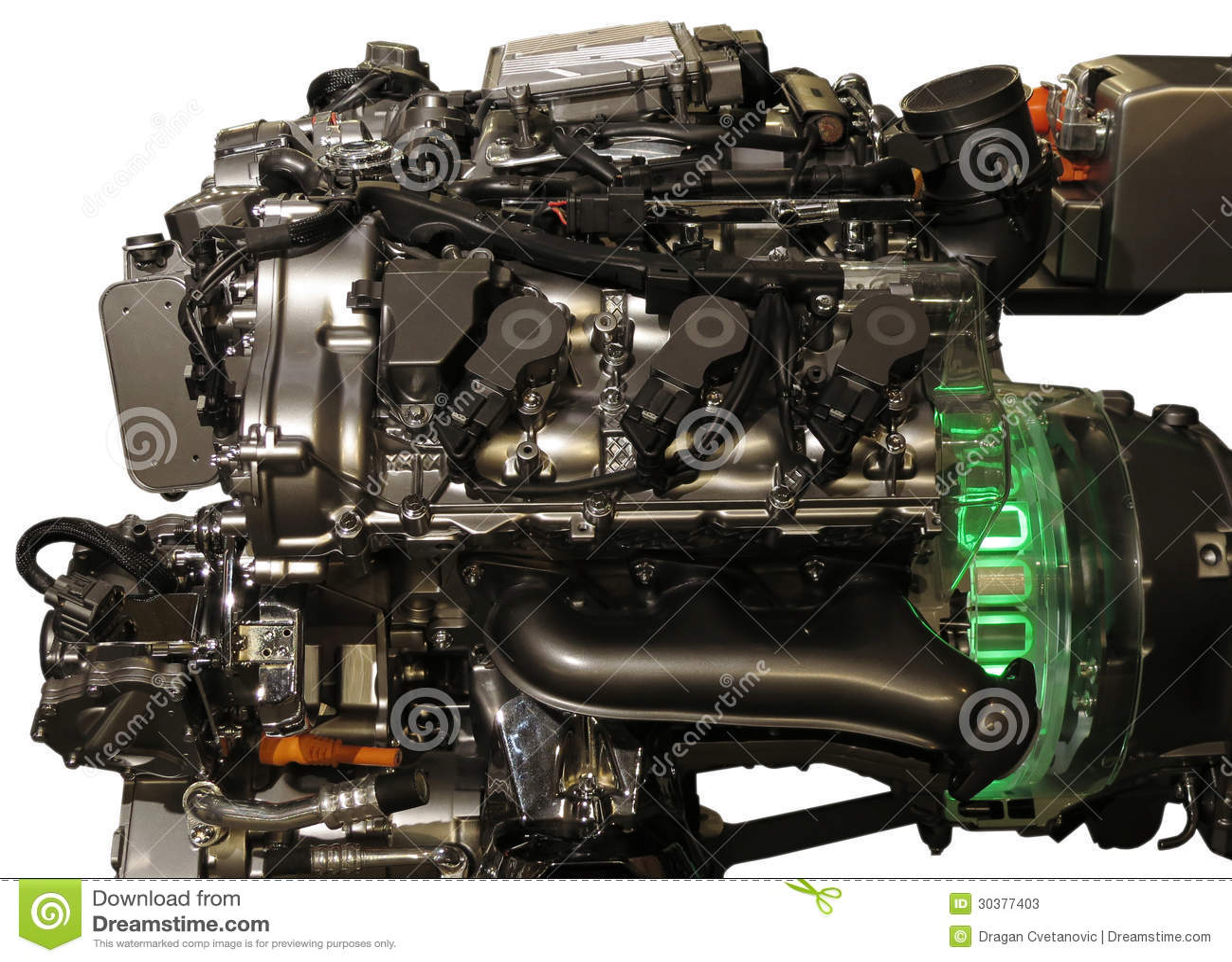 Hybrid Car Engine From S Class Mercedes Stock Photos