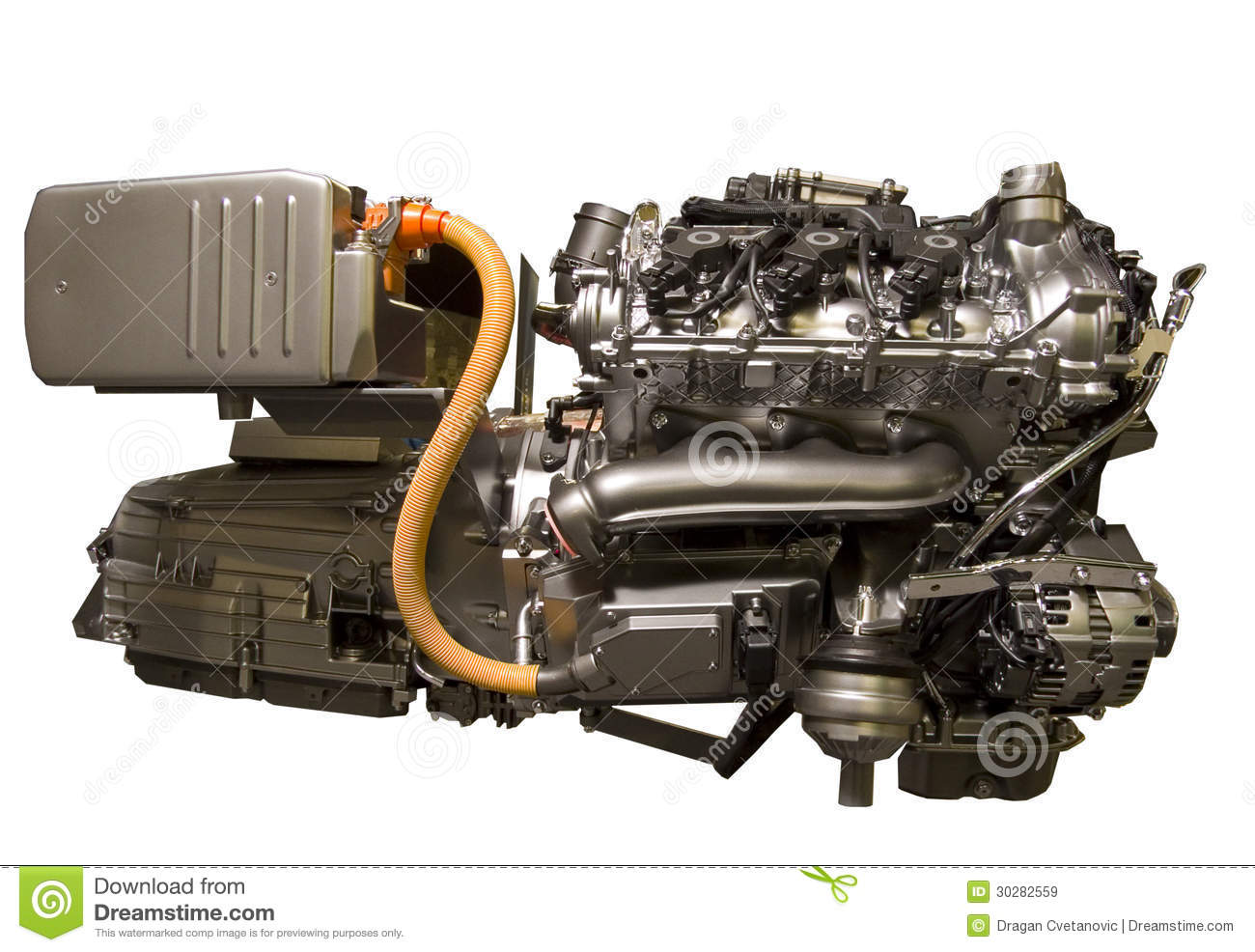 Hybrid Car Engine From S-class Mercedes Stock Image - Image