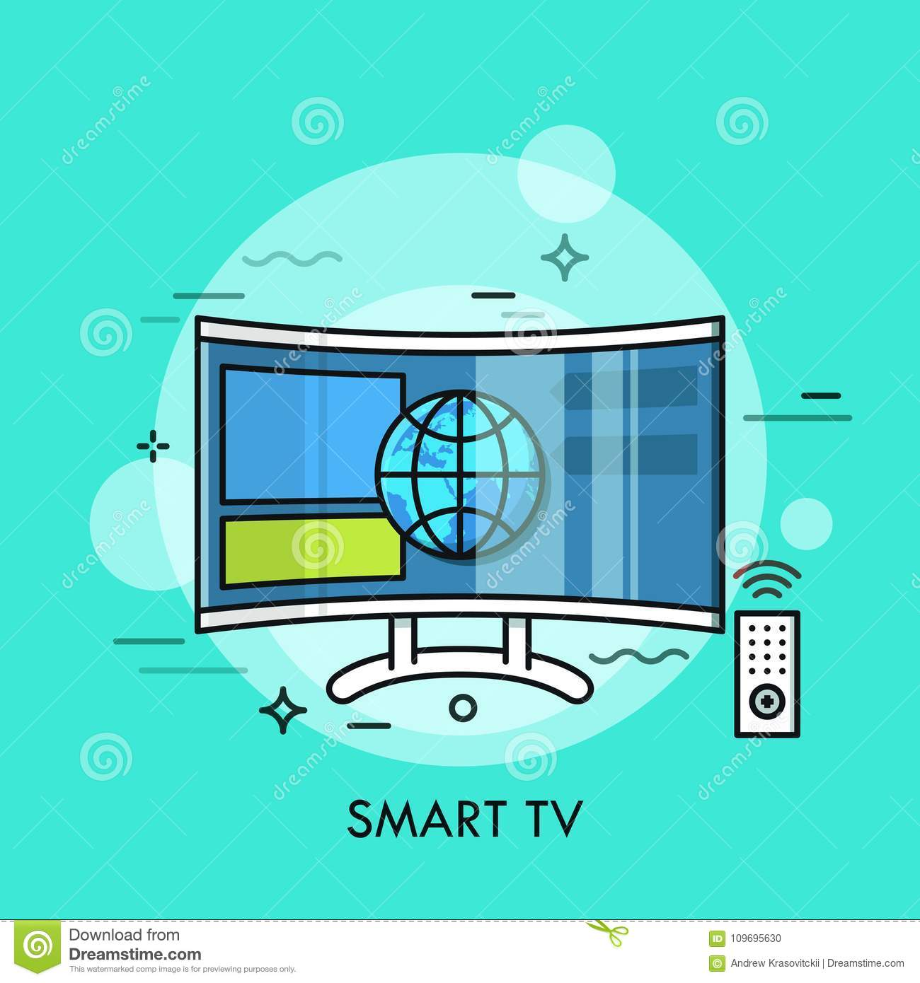Hybrid Or Smart TV Displaying Content From Website. Concept Of ...