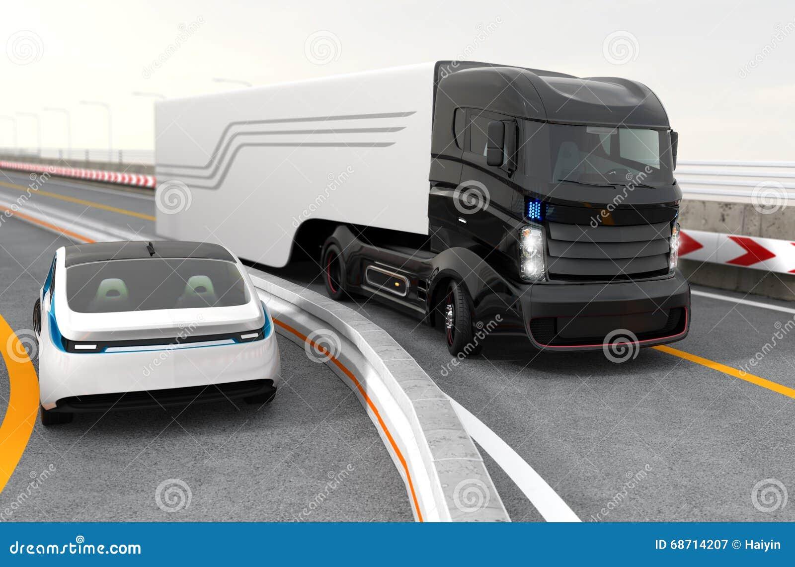 hybride elektrische vrachtwagen en witte elektrische auto op weg stock illustratie afbeelding. Black Bedroom Furniture Sets. Home Design Ideas